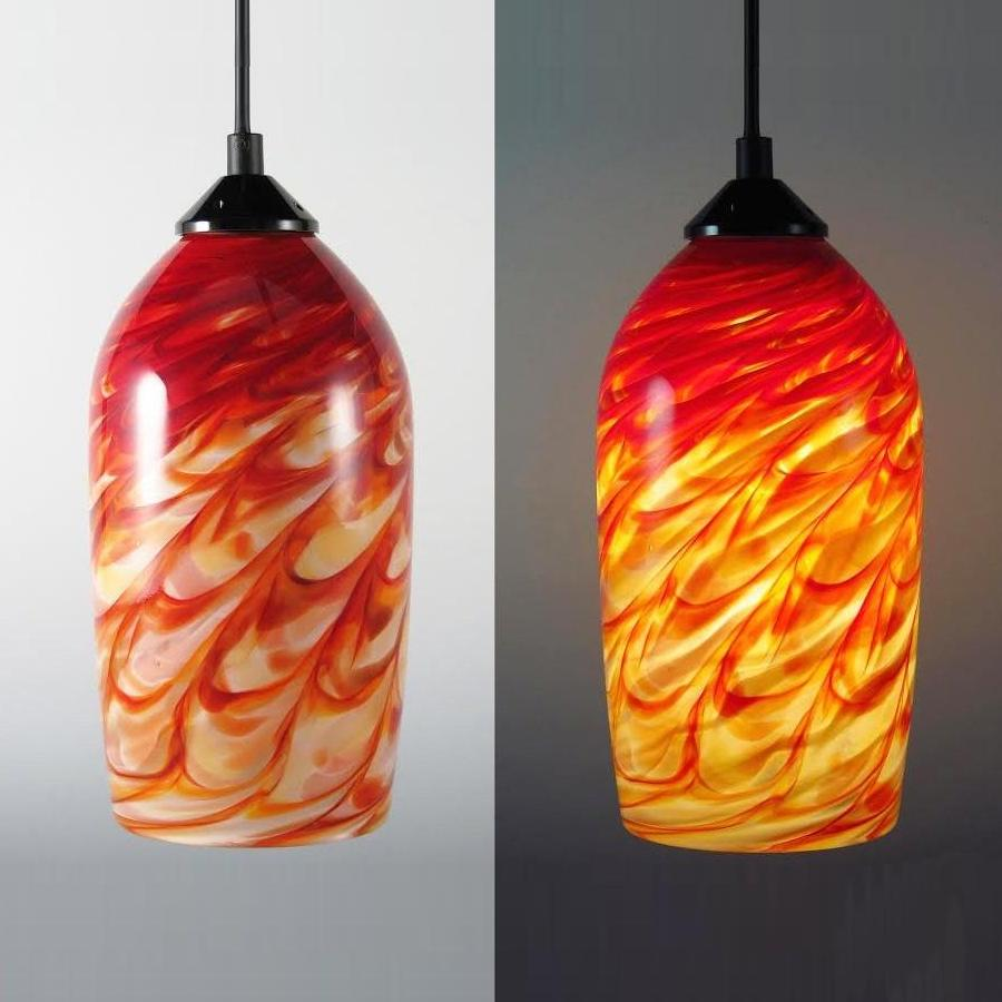 Cylinder Pendant Light-Red Hot Mix