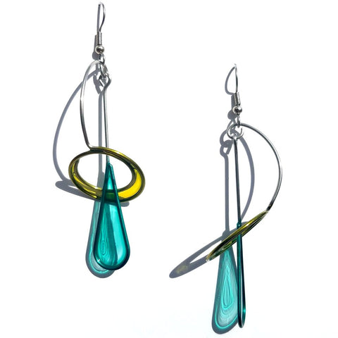 Resin Earrings-Aqua & Lime