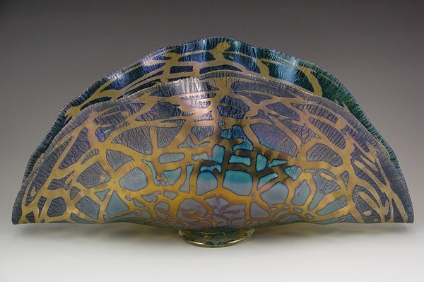 Clam Shell Bowl-Cobalt & Iris