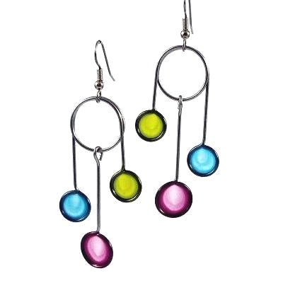 Resin Earrings-Lime, Purple & Aqua