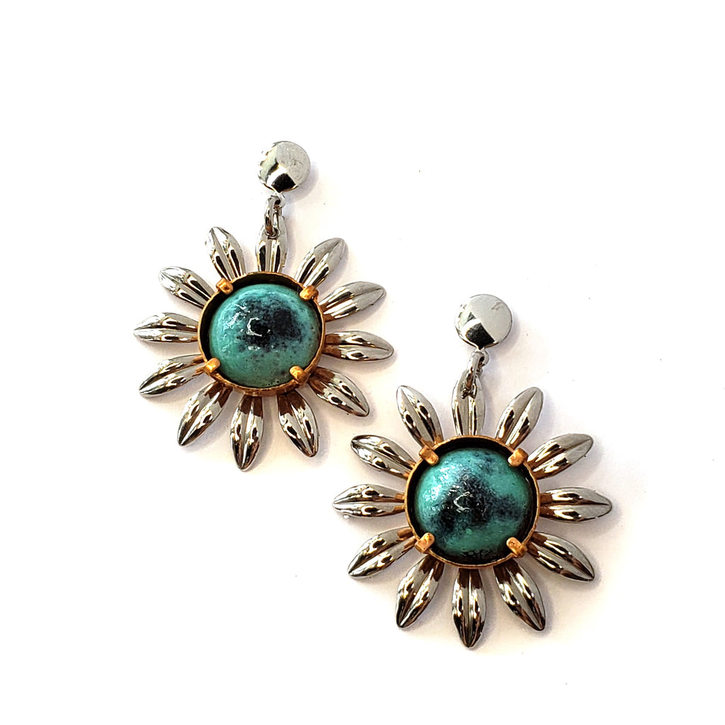 Enamel Flower Earrings-Turquoise