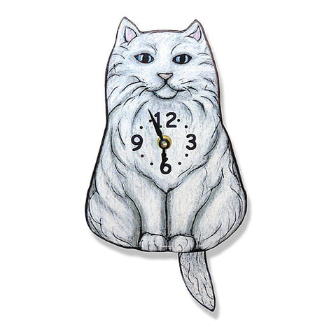 Tail Wagging Clock-Fluffy Cat, White