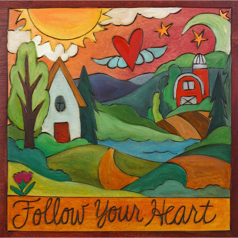 "Follow Your Heart Plaque-9""x9"""