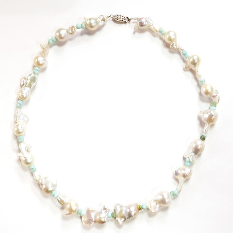 Baroque Pearls & Peruvian Opal Necklace