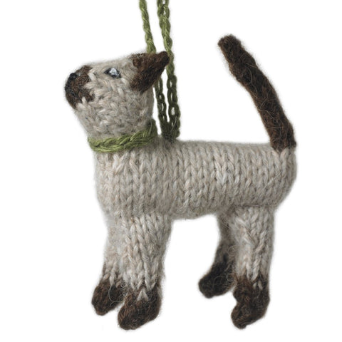 Hand Knit Cat Ornament-Siamese