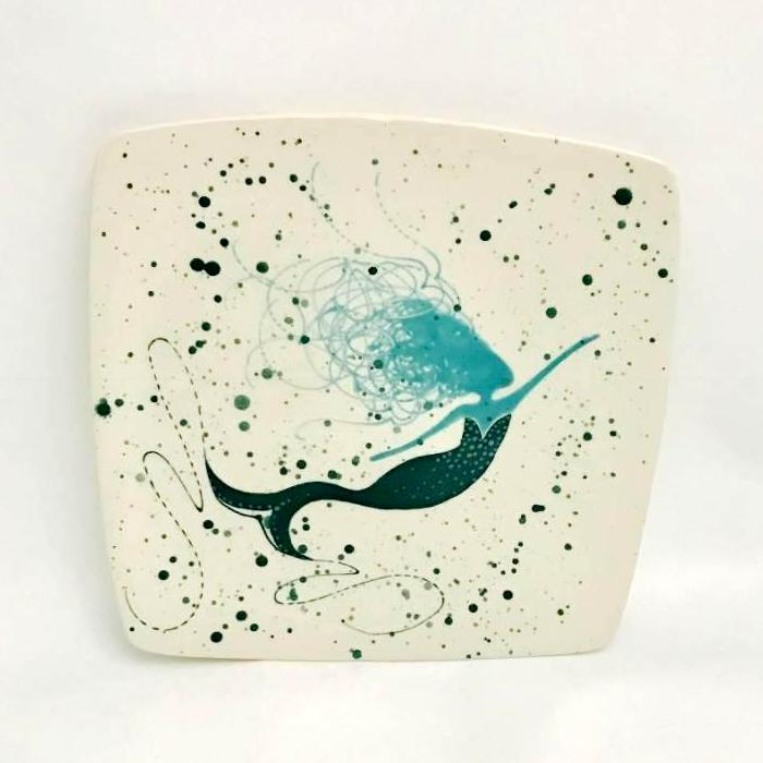 Square Plate-Turquoise Mermaid