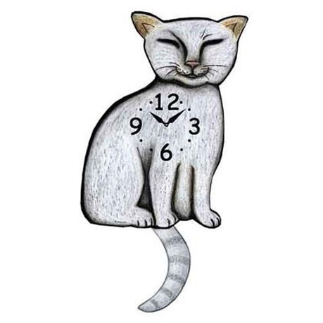 Tail Wagging Clock-Siamese Cat, White