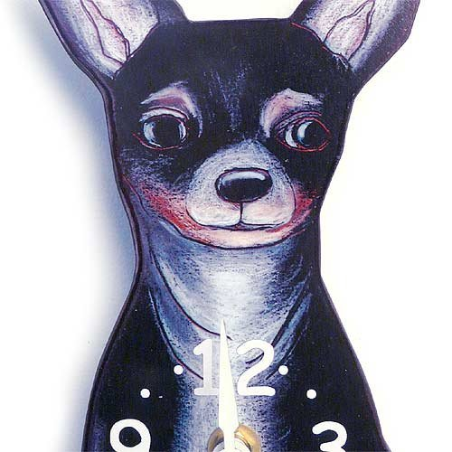 Tail Wagging Clock-Chihuahua, Tri-color