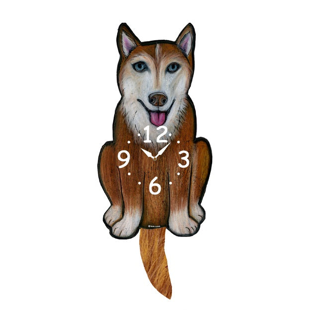 Tail Wagging Clock-Husky, Brown