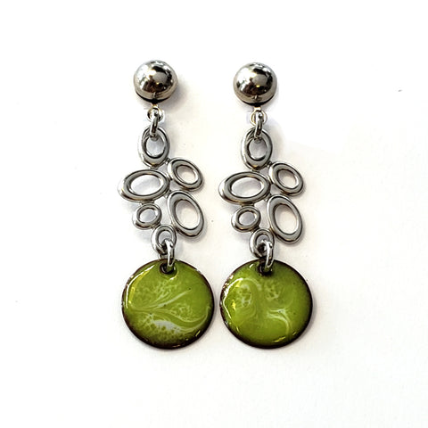 Enamel Dot Dangle Earrings-Lime