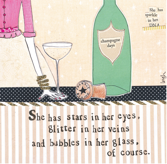 Card-Bubbles in Her Glass