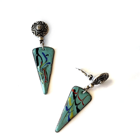 Enamel Triangle Clip Earrings