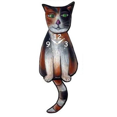 calico cat pendulum tail clock