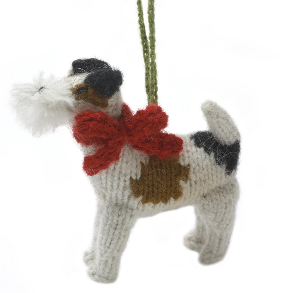 Hand Knit Dog Ornament-Fox Terrier