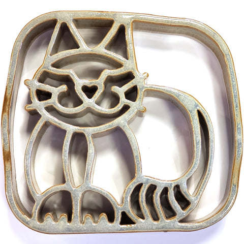 Ceramic Cat Trivet Bay Pottery
