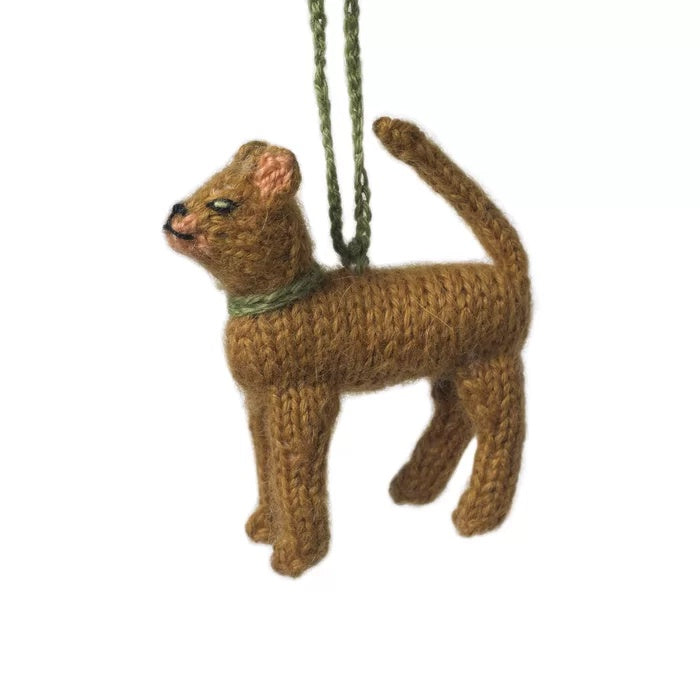 Hand Knit Cat Ornament-Abyssinian