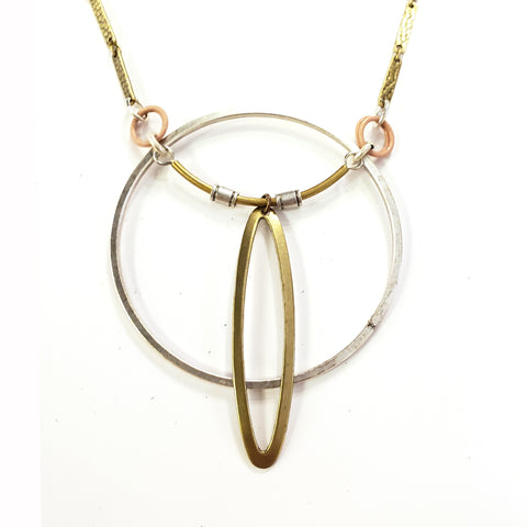 Mid-century Industrial Circle Necklace