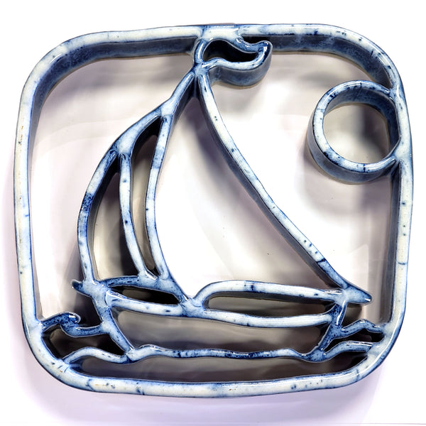 Bay Pottery Ceramic Sailboat Trivet