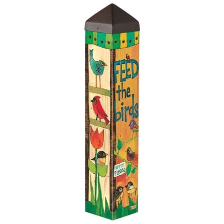 Feed the Birds Garden Art Pole