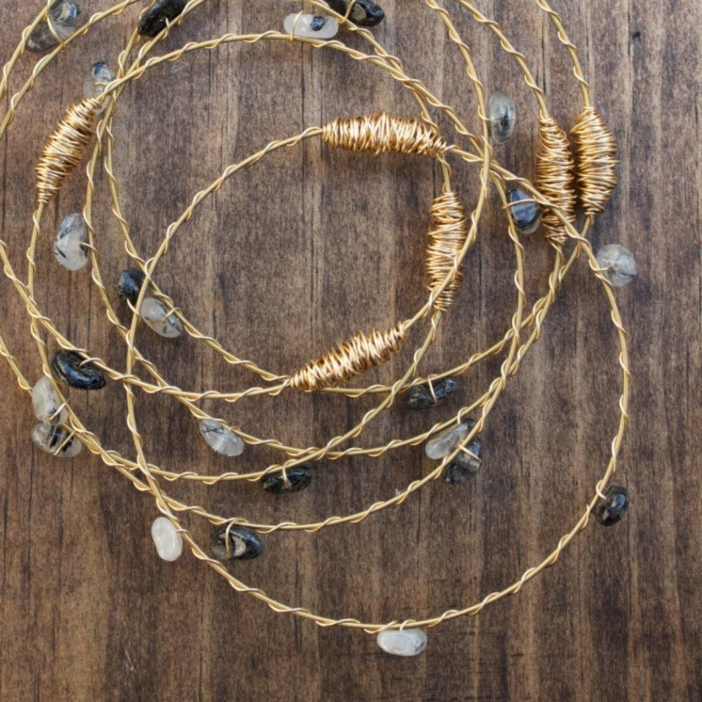 Recycled Guitar String Bracelet-Tourmalated Quartz