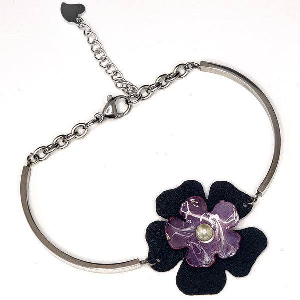 Flower Bracelet-Purple & Black
