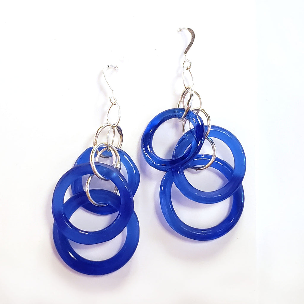 Recycled Glass Chandelier Earrings-Cobalt