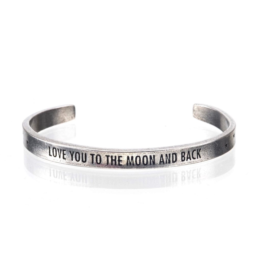 Love You to the Moon & Back Pewter Cuff Bracelet