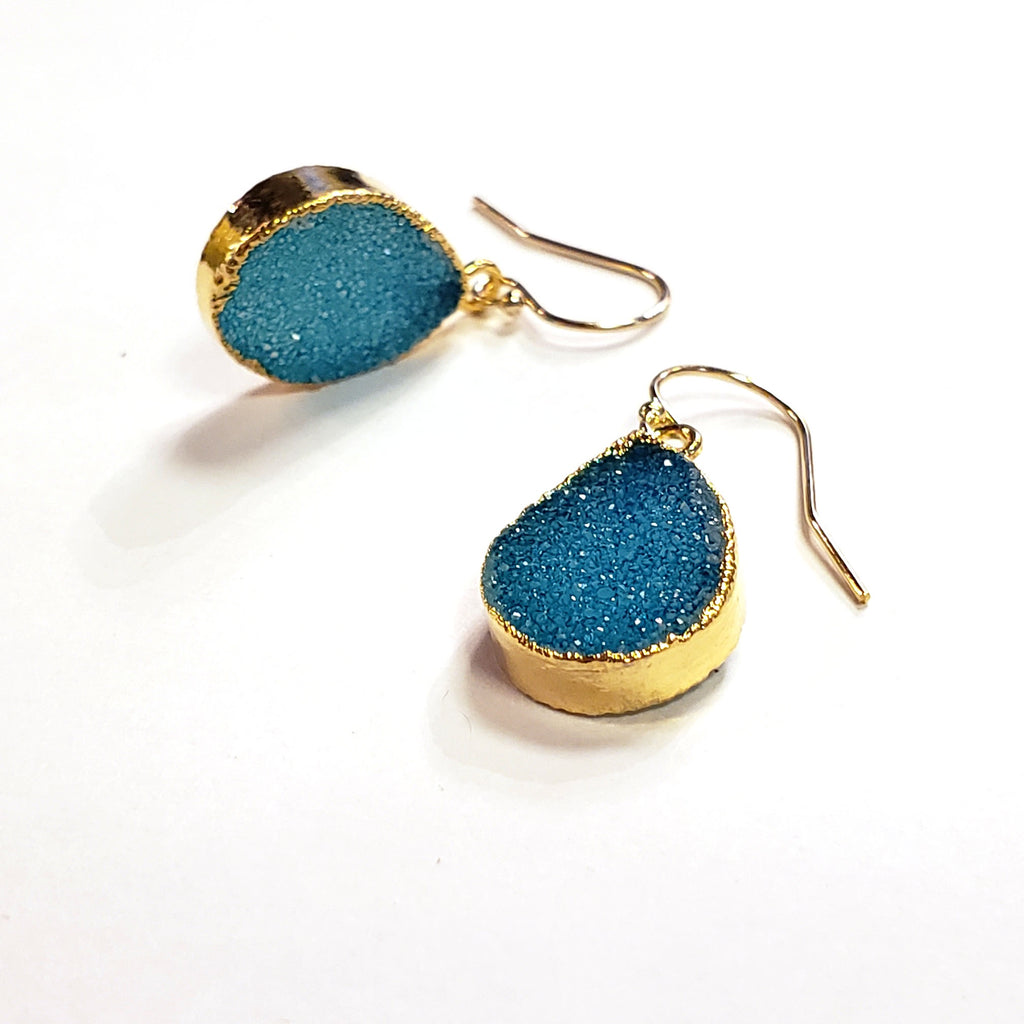 Teardrop Druzy Earrings-Aqua