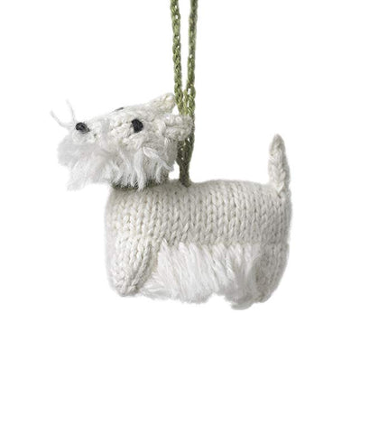 Hand Knit Dog Ornament-Westie
