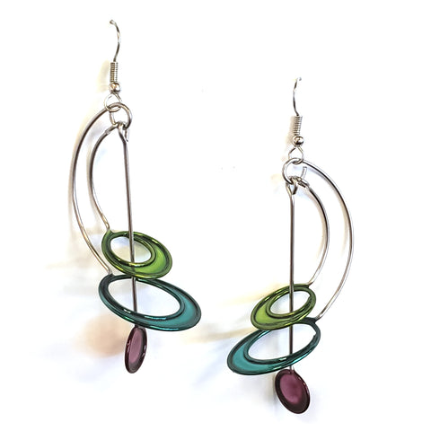 Resin Earrings-Green/Teal/Purple