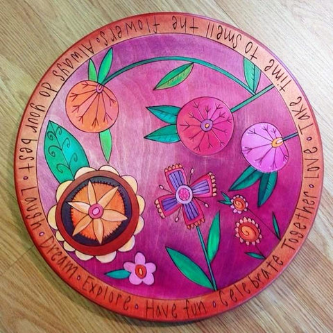 "Sticks Lazy Susan 16""-Pink Floral 
