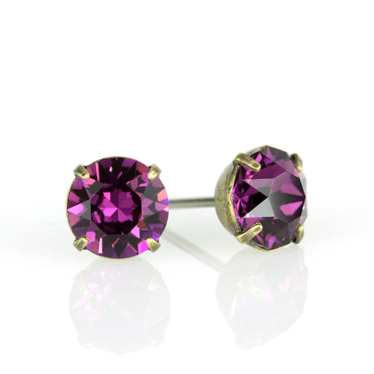 Amethyst Crystal Post Earrings