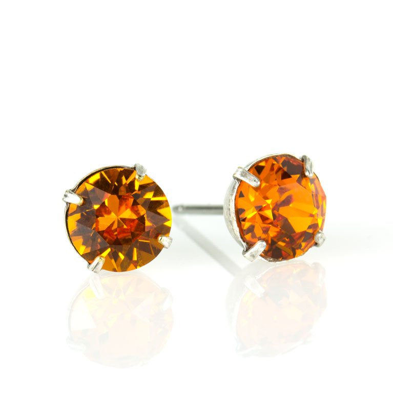 Tangerine Crystal Post Earrings