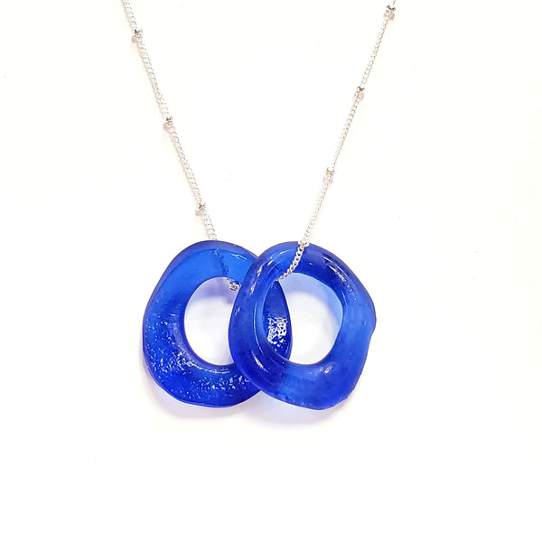 Wave Mini Necklace-Cobalt