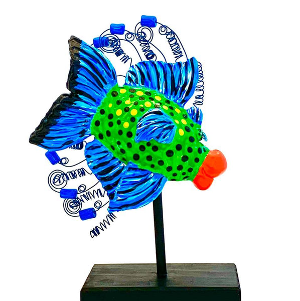 Fish Sculpture-Blue Trevaly on Stand