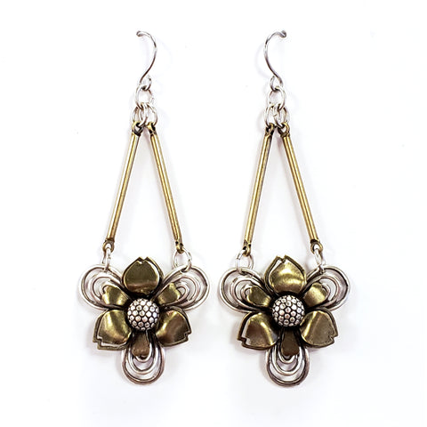 Industrial Flower Drop Earrings