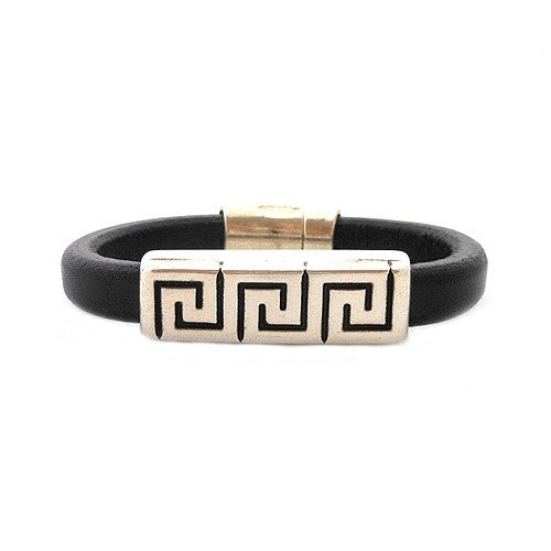 Greek Key Leather Bracelet-Large
