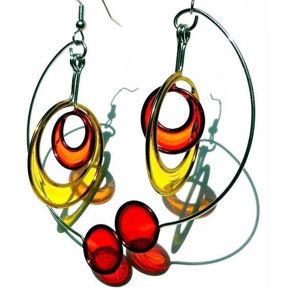 Resin Earrings-Orange, Yellow & Red