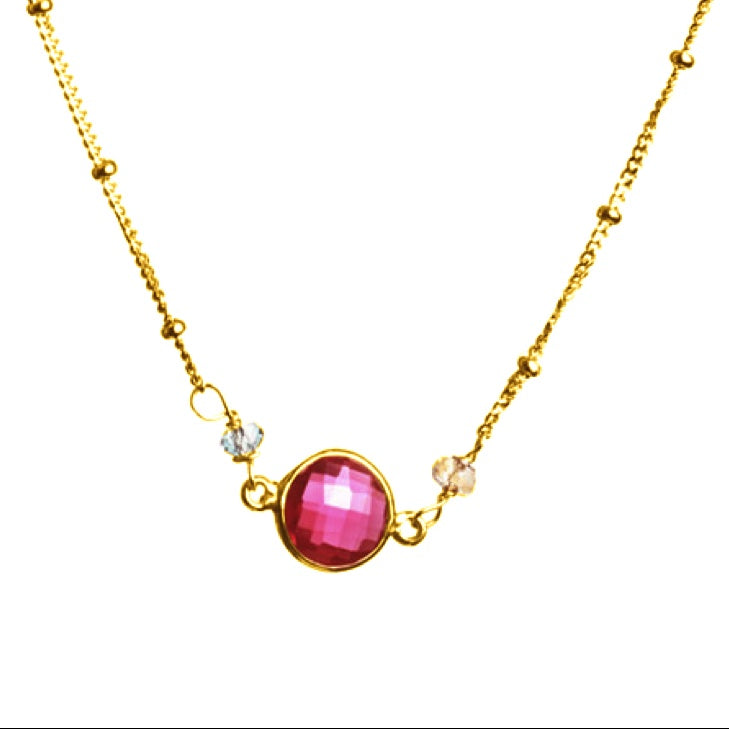 Ruby Quartz Dot Necklace