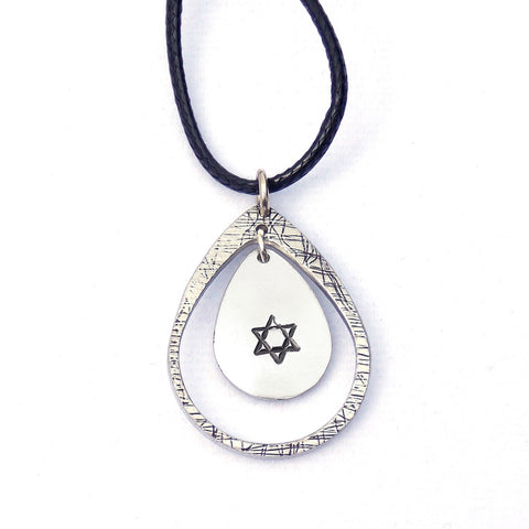 Star of David Teardrop Necklace