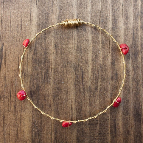 Recycled Guitar String Bracelet-Red Coral