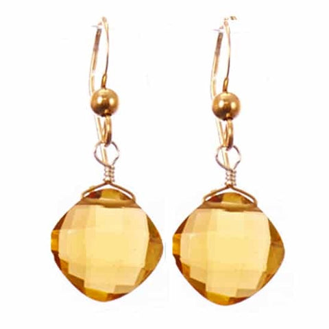 Cushion Earrings-Tea Quartz