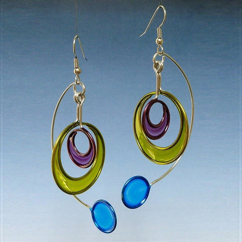 Resin Earrings-Purple, Green & Aqua