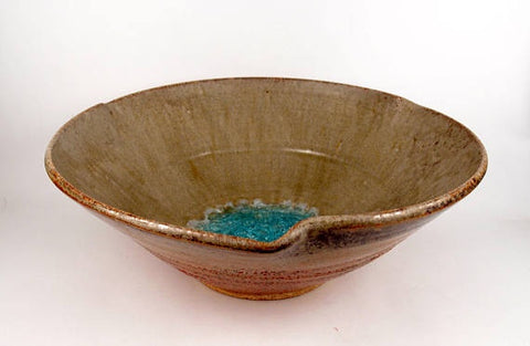 Copper Ash bowl with crackle glass center