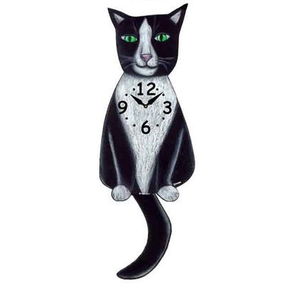 Tail Wagging Clock-Tuxedo Cat