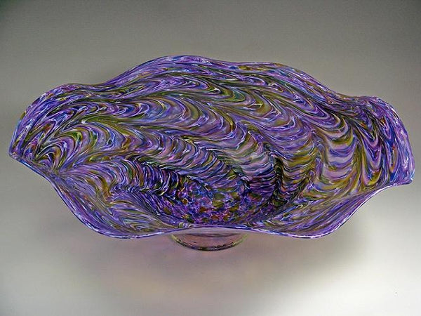 Ruffled Bowl-Violet, White & Amethyst