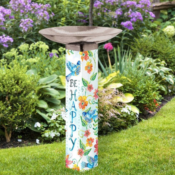 Art Pole Bird Bath-Happy Bluebirds