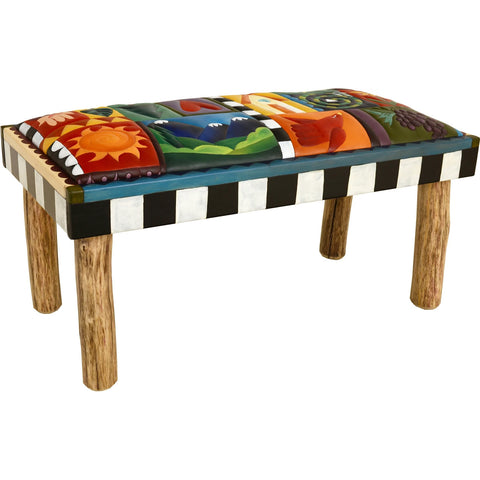 Leather Seat Bench 3'-Crazy Quilt