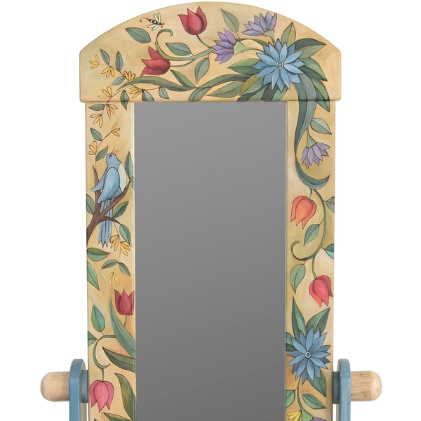 Wardrobe Mirror on Stand-Floral Elegance