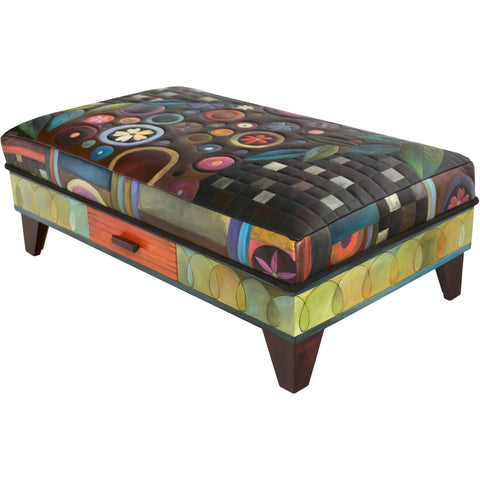Ottoman With Drawer-Folk Art